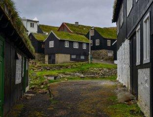 Zabudowania osady Mykines na Wyspach Owczych